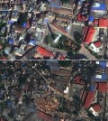Satellite images before and after the earthquake. (Credit: DigitalGlobe)