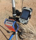 Geneq SXPad Rugged Handheld Computer and SXBlue GPS Receiver. (Credit: Thomas Bell / Pan African Minerals)