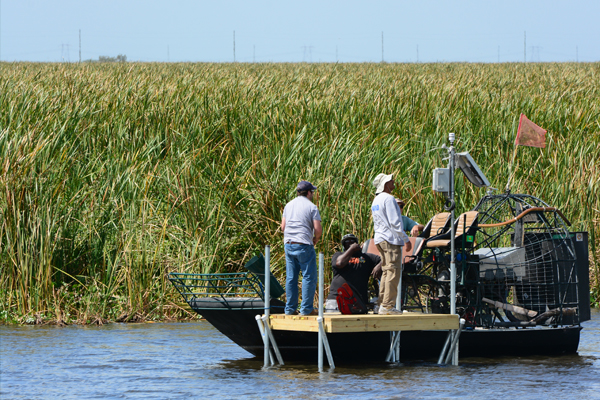 Scientists with the South Florida Water Management District inspect an Airmar 150WX Ultrasonic Weather Station deployed on top of a NexSens data logging system in an open-water wetland area. (Credit: Zaki Moustafa, SFWMD)