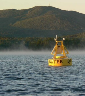 The Lake Sunapee buoy is a long-time GLEON site. (Credit: GLEON)