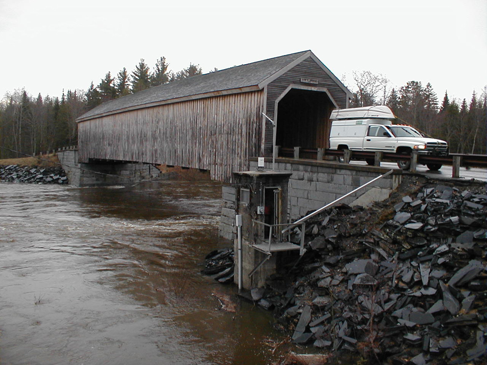 This stream gauge on the Piscataquis River in Maine, in operation since 1902, is part of the climate-response network. (Credit: USGS)