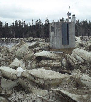 A stream gauge on the St. John River in Maine. (Credit: USGS)