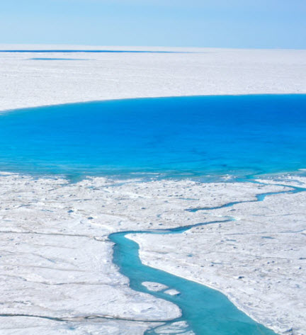 Greenland glacial lake. (Credit: Laura Stevens, Woods Hole Oceanographic Institution)