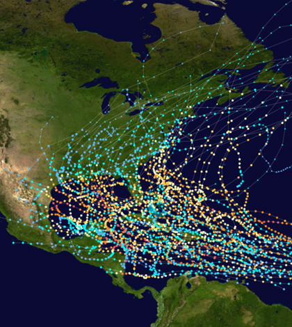 Tracks of tropical cyclones in the Atlantic Ocean whose names were retired due to their impact. (Credit: Titoxd)