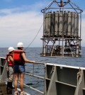 Scientists sample water at multiple depths to quantify cycling nitrous oxide in the ocean. (Credit: Clara Fuchsman)