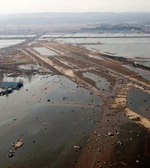 Debris and water after the earthquake and tsunami struck Japan in 2011. (Credit: U.S. Air Force)