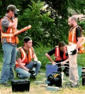 Western Michigan students use a groundwater pump. (Credit: Tom Howe, Western Michigan University)