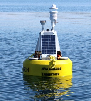 The Iowa Lakeside Laboratory joined GLEON with a new data buoy in West Okoboji Lake. (Credit: Doug Nguyen / NexSens Technology)