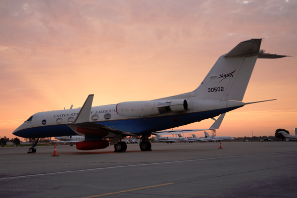 NASA's C-20A research plane sits at Louis Armstrong New Orleans International Airport before its first science flight. (Credit: NASA)