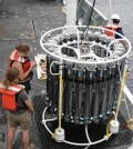Scientists prepare a CTD Rosette for deployment. (Credit: Greg Cutter)