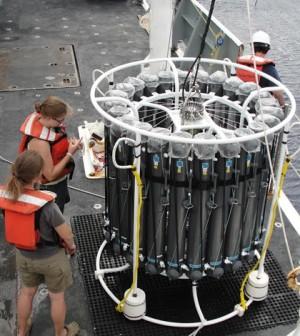 Scientists prepare a CTD Rosette for deployment. (Credit: Greg Cutter)