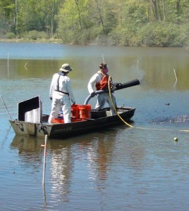 Deployment of bio-amended activated carbon pellets (SediMite) to treat PCB contaminated sediment in Abram's Creek on the Quantico Marine Base. (Credit: Kevin Sowers)