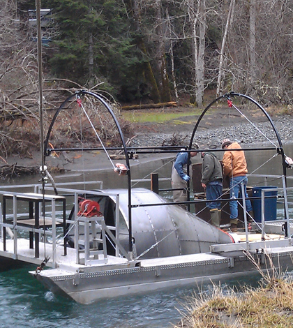 marine fisheries commission Rotary screw trap being used near Brinnon, WA. (Courtesy of Washington Department of Fish & Wildlife)