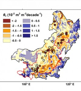 Soil moisture trends in Northern China during growing seasons from 1983-2012. (Credit: Yaling Liu / Purdue University)