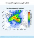 Simulated precipitation over 24 hours of a model using observed sea surface temperature. (Credit: GEOMAR)