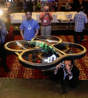 A drone used in the project takes off following a computer's command. (Credit: University of Toronto)