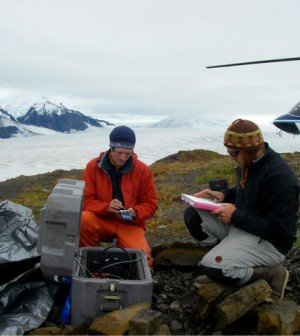 Researchers track meltwater using seismic equipment. (Credit: University of Texas)