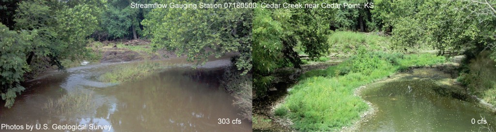 Cedar Creek (shown in August 2013 and 2012, left to right) is a typical intermittent stream with flow rates changing drastically from year to year. (Credit: USGS)