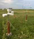 A 3D-printed weather station sits in a test field. (Credit: Martin Steinson, University Corporation for Atmospheric Research)