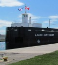 The Lakes Contender is a large cargo vessel on the Great Lakes. (Credit: Michelle Hill / U.S. Army Corps of Engineers)