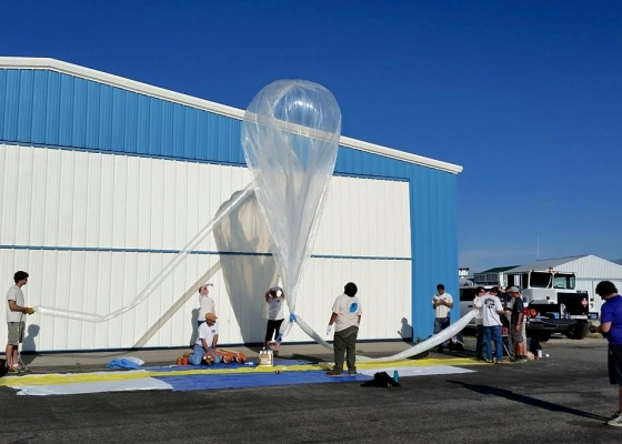 Workers at the Montana Space Grant prepare to launch a research balloon from Big Timber, Montana. (Credit: Berk Knighton / BOREALIS)