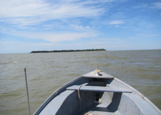 he view from a chartered boat as Montana Space Grant officials sped toward Lake Winnipeg's Nut Island to recover a lost weather balloon. (Credit: Berk Knighton / BOREALIS)