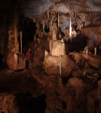 Scientists gathered stalagmite samples from a cave in Palawan in the Philippines. (Credit: Raf Rios)