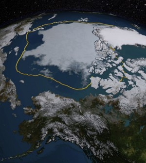The 2015 Arctic sea ice summertime minimum shown with the 1981-2010 average (gold line). (Credit: NASA/Goddard Scientific Visualization Studio)