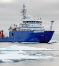 R/V Sikuliaq amidst Beaufort Sea ice during the fourth lowest Arctic sea-ice minimum. (Credit: Thomas Moore)
