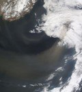 Satellite image from 2012 showing a dust storm blowing over the Sea of Japan out to the North Pacific. (Credit: NASA)