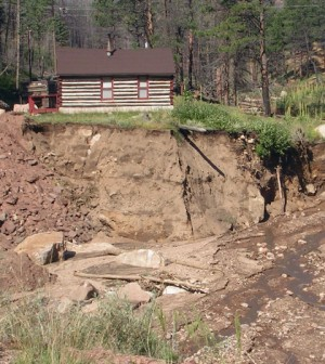 Damage from excess erosion following the 2002 Hayman Fire near Denver, Colorado. (Credit: Mary Miller, Michigan Tech Research Institute)