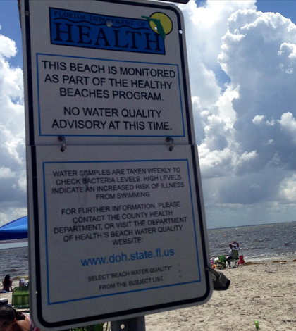 A posted sign about the Florida Healthy Beaches Program. (Credit: Lottie Watts / WUSF)