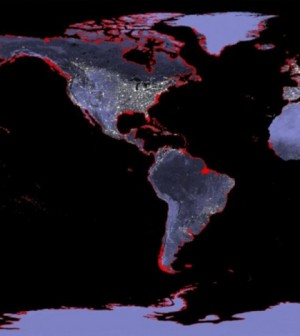 Project 6-meter sea level rise represented in red. (Credit: NASA)