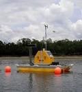 A monitoring buoy installed at Barco Lake. (Credit: National Ecological Observatory Network)