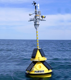 Purdue University and Illinois-Indiana Sea Grant deployed this environmental-sensing buoy in the Lake Michigan nearshore to provide information such as wind speed, air and water temperature, and wave height and direction for boaters and beachgoers. (Credit: Irene Miles / Illinois-Indiana Sea Grant)