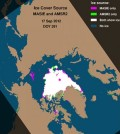 Sea ice cover from a single day in 2012. (Credit: NSIDC)