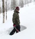 Ryan Webb digs a snow pit at a research site in northwestern Colorado. (Credit: Niah Venable)
