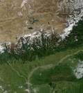 Snow and ice from the Tibetan Plateau and Himalayan range are an important source of water for many people through India. (Credit: Jacques Descloitres / NASA)