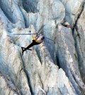 A helicopter takes researchers up to the Franz Josef Glacier in New Zealand. (Credit: Benjamin Lehmann)