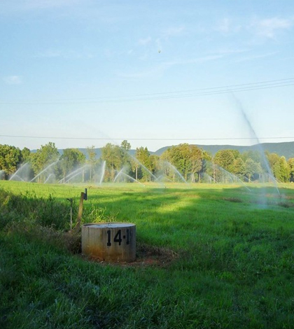 Active sprinklers spray water onto Penn State University's Living Filter. (Credit: Emily Woodward / Penn State University)