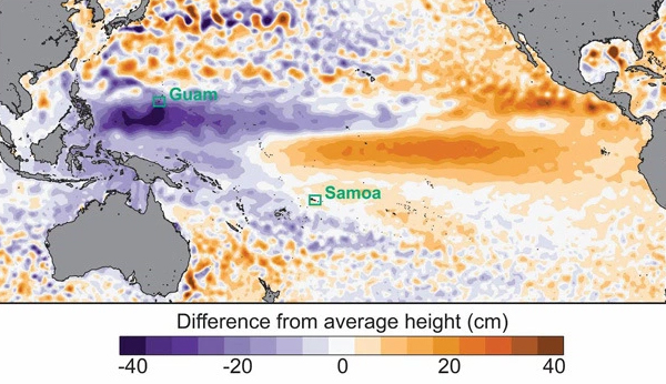 Extreme low sea levels occurred during August in parts of the western Pacific associated with the ongoing strong El Niño. Data from AVISO satellite measurements. (Credit: Widlansky, et al., 2015)