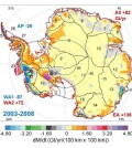 Mass changes over Antarctica from 2003-2008. (Credit: Jay Zwally / Journal of Glaciology)