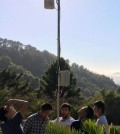 Students install a sensor tower in the University of California Botanical Garden to monitor air temperature, humidity, soil moisture and solar radiation. (Credit: University of California, Berkeley / Civil Engineering 271, Internet of Things team)