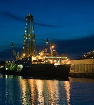 The JOIDES Resolution at Ogden Pier, Victoria, British Columbia, on July 9 2009. (Credit: William Crawford / Integrated Ocean Drilling Program)