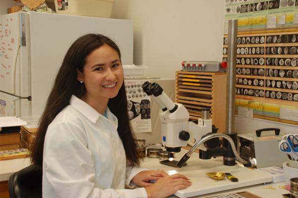Karla Knudson working in the Stable Isotope Lab at University of California, Santa Cruz, looking at foraminifera species. (Credit: Sarah White)