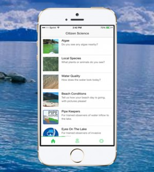 The Citizen Science Tahoe App lets users contribute observations about the lake. (Courtesy of UC Davis Tahoe Environmental Research Center)