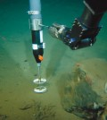 """Small-scale current measurements around a large """"drop stone."""" (Credit: Michael Klages / Alfred-Wegener-Institut)"""