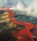 January 2015 photo of an active lava flow from 2014-2015 eruption at Holuhraun in Iceland. (Credit: Anja Schmidt / University of Leeds)