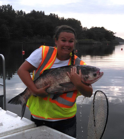 Researcher Kelsie Murchy with a bighead carp. (Credit: Brooke Vetter)