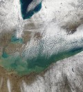Unusually high Lake Erie temperatures this winter are holding at 40 degrees Fahrenheit. (Credit: NASA)